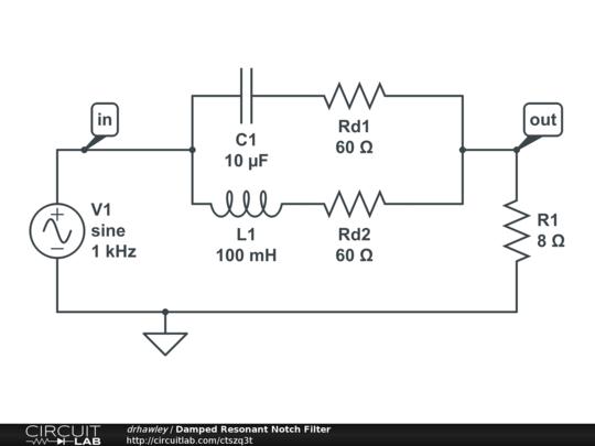 damped resonant notch filter