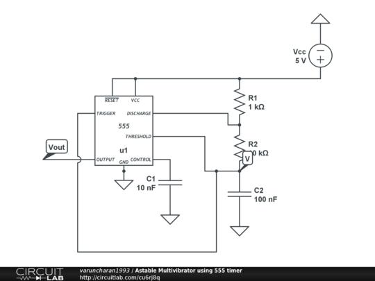 Astable Multivibrator using 555 timer - CircuitLab
