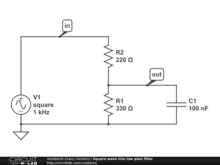 Square wave into low pass filter