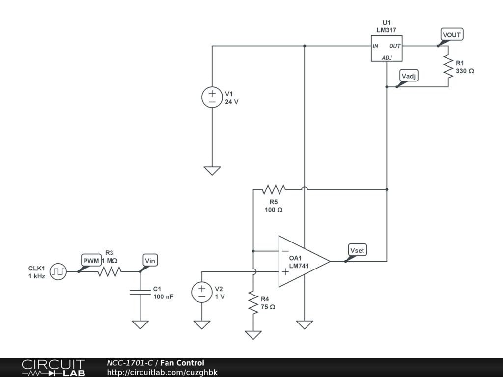 Pwm To Fan Control Via Lm317 Circuitlab Circuit