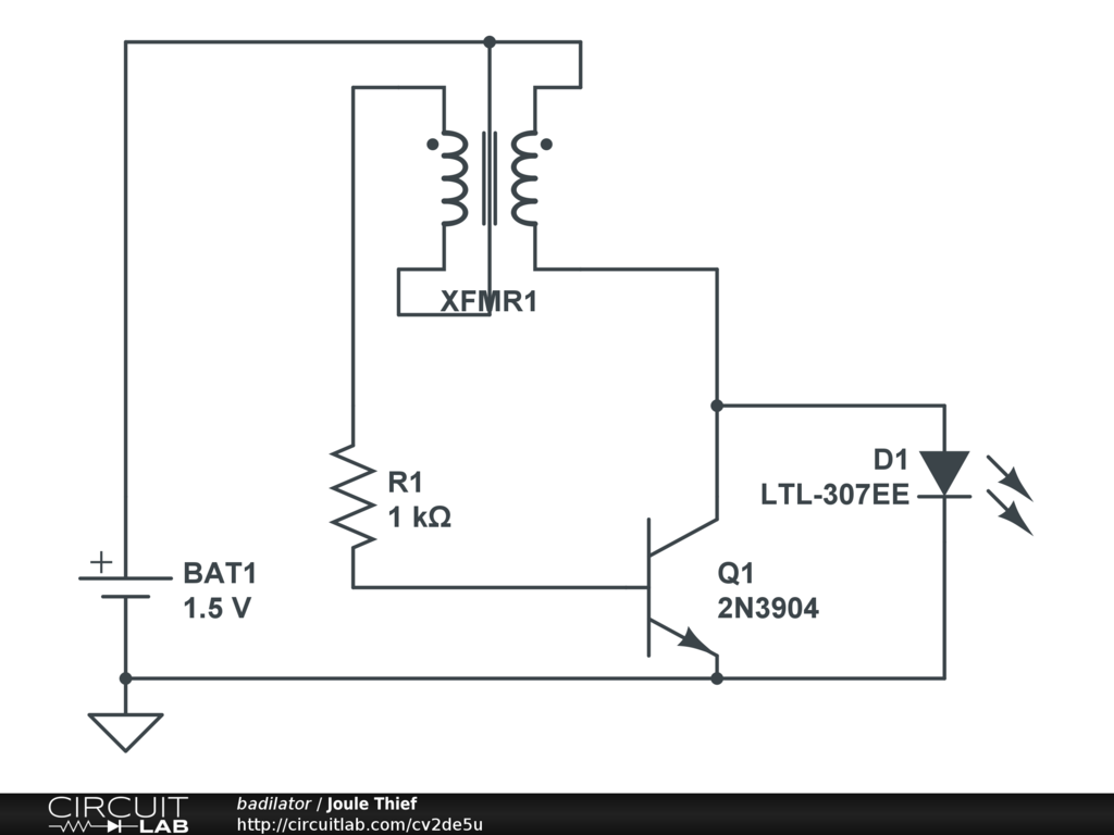 Public Circuits Tagged Joule Thief Circuitlab 2 Lamp Flasher Using Mosfet