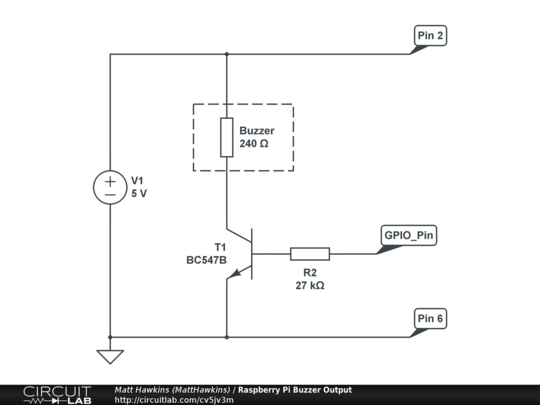 Raspberry Pi Buzzer Output - CircuitLab on