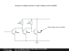 Low Voltage transistor in high voltage current amplifier