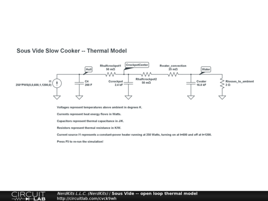 Sous vide slow cooker thermal model -- electrical equivalent circuit in CircuitLab