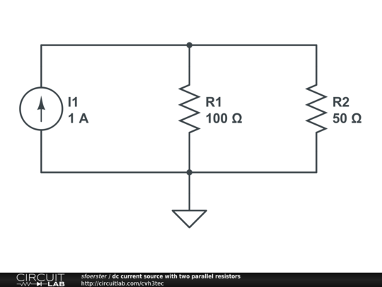 dc current source with two parallel resistors
