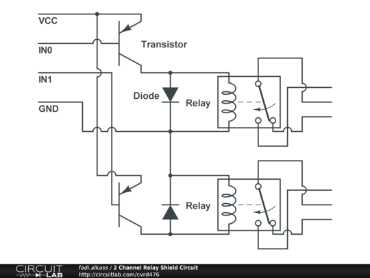 2 channel relay shield circuit