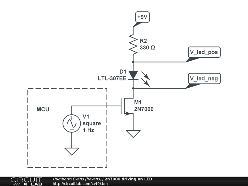 2n7000 Driving An Led Circuitlab Schematic Circuits For The Hobbyist Pdf Electronics Circuit