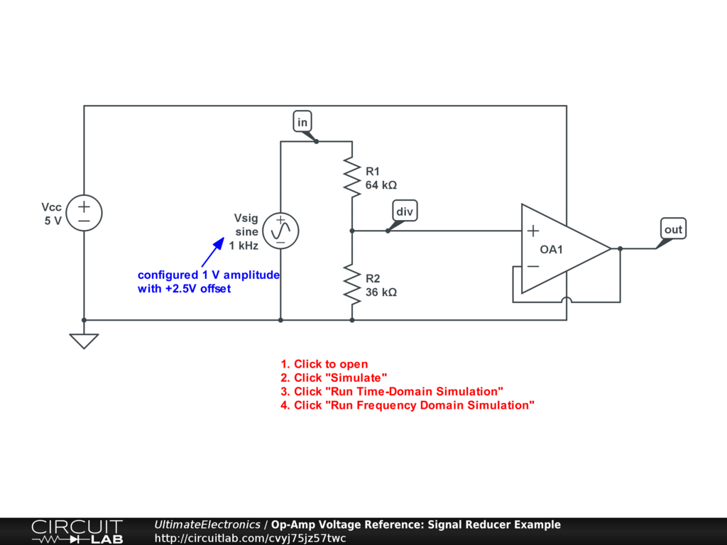 Op-Amp Voltage Reference: Signal Reducer Example