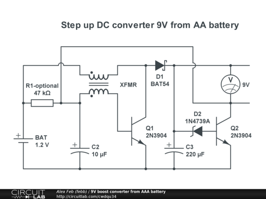 9v boost converter from aaa battery public