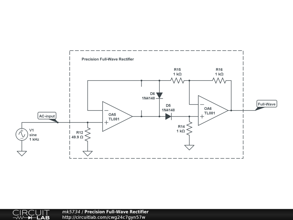 Precision Full Wave Rectifier Circuitlab Diagram Circuit
