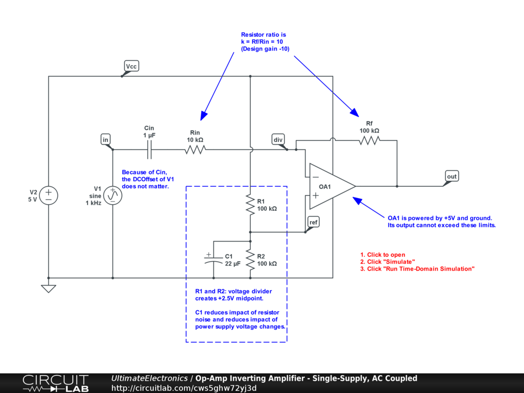 Op-Amp Inverting Amplifier - Single-Supply, AC Coupled