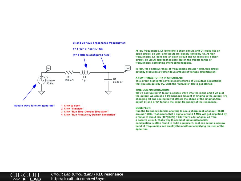 rlc resonance circuitlab