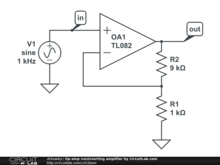 Op-amp noninverting amplifier by CircuitLab.com