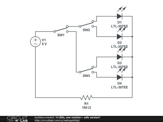 4 leds  one resistor u2014 safe version