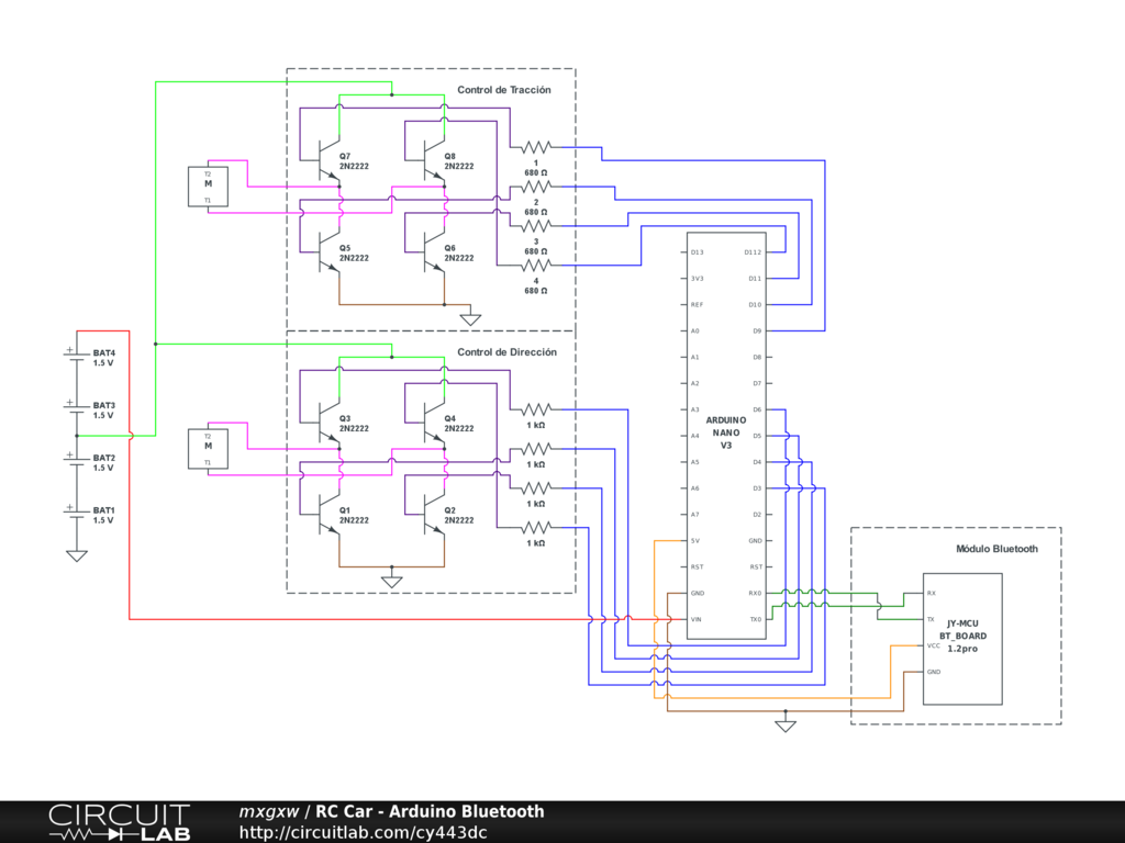 Rc Car Arduino Bluetooth Circuitlab Schematic Circuit