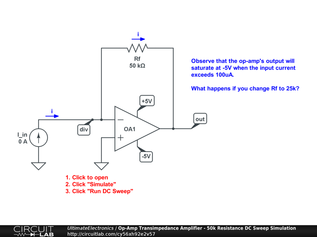 Op-Amp Transimpedance Amplifier - 50k Resistance DC Sweep Simulation