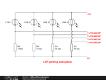 LDR parking subsystem for PICAXE