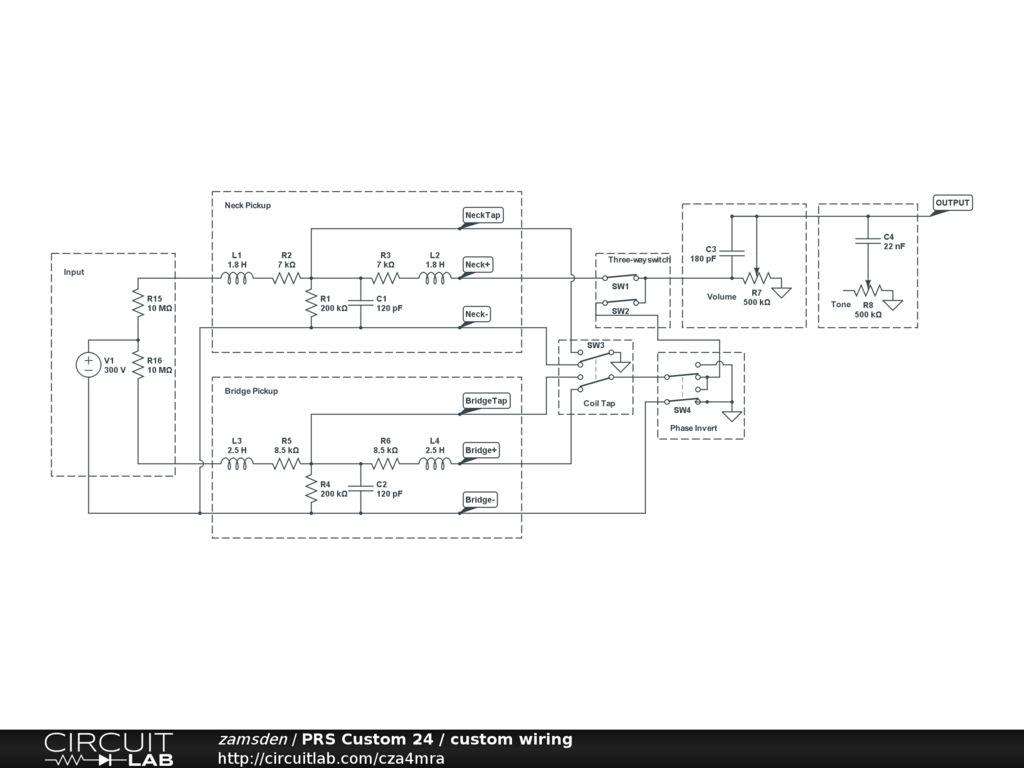 Prs Custom 24 Schematic Not Lossing Wiring Diagram A Output Jack Circuitlab Rh Com Fender Stratocaster Se