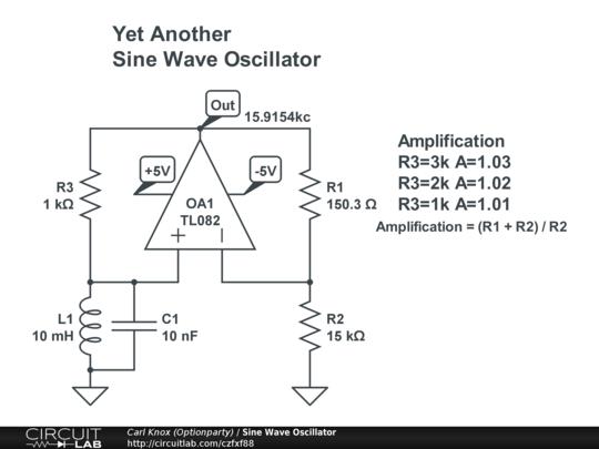 Sine Wave Oscillator - CircuitLab