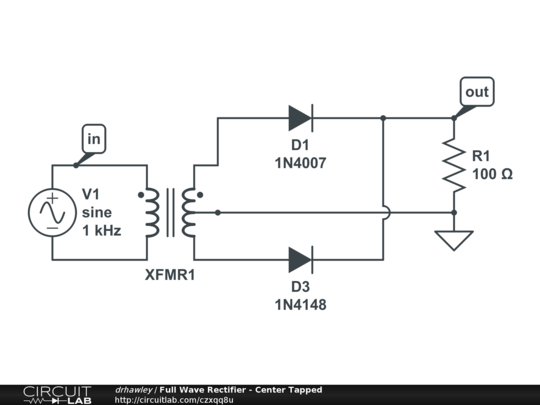 Full Wave Rectifier - Center Tapped - CircuitLab